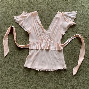Pale Pink Silk Sheer Top Vintage Express